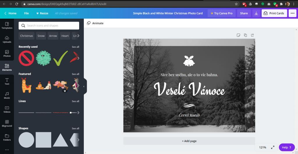Přehledné prostředí online grafického editoru Canva